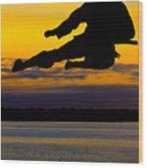 Flying Kick Over Muskegon Lake Wood Print