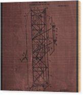 Flying Machine Patent Drawing  Wood Print