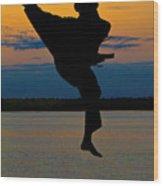 Flying Over Muskegon Lake Wood Print