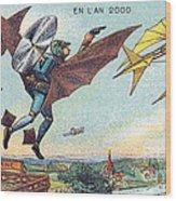 Flying Policemen, 1900s French Postcard Wood Print