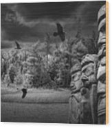 Flying Ravens And Totem Poles In Black And White Wood Print