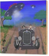 Flying Saucers Attack Teenage Hot Rodders Wood Print