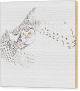 Flying Snowy Owl Wood Print