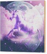 Flying Space Galaxy Unicorn Wood Print