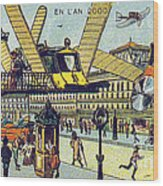 Flying Taxicabs, 1900s French Postcard Wood Print