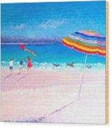 Flying The Kite Wood Print