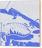 Flying Tiger Blue Wood Print