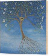 Flying Tree Wood Print by Tone Aanderaa