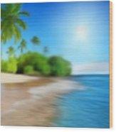 Focus On Palm Tree Wood Print