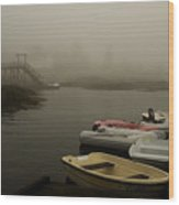 Fog And Dingies In Cape Harbor Maine On A Misty Morning Wood Print