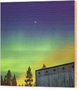 Fog And Northern Lights At Sapmi Museum Karasjok Norway Wood Print