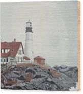 Fog Approaching Portland Head Light Wood Print
