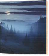 Fog Around The Mountain Top At Night Wood Print