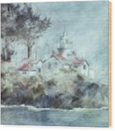 Fog At Batterypoint Lighthouse Wood Print