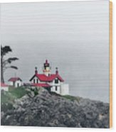 Fog Comes Rolling In - Battery Point Lighthouse - Crescent City Ca Wood Print by Christine Till