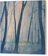 Fog In The Forest Wood Print