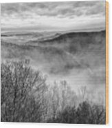 Fog In The Mountains - Pipestem State Park Wood Print