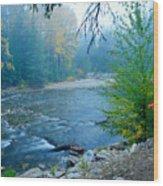 Fog In The Wenatchee Forest Wood Print