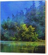 Fog Lake Wood Print
