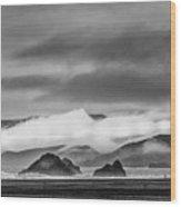 Beach Walking In The Fog Wood Print