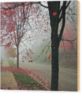 Fog On A November Morning Wood Print