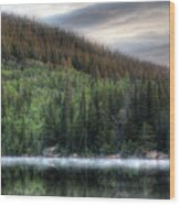 Fog On Bear Lake Wood Print