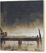 Fog On Lake Jeffords Wood Print