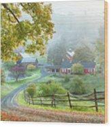 Fog On Sleepy Hollow Farm Wood Print