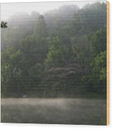 Fog On The Lake Wood Print