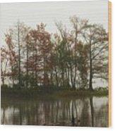 Fog On The River Wood Print