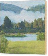 Fog On The Road To Mccall Wood Print