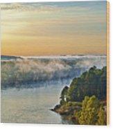 Fog Over Savannah River Wood Print
