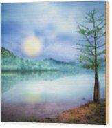 Fog Over The Lake Wood Print