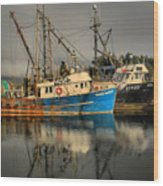 Fog Over Ucluelet Fishing Port Wood Print