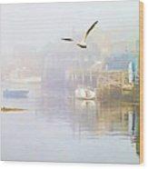 Fog Over West Dover - Digital Paint Wood Print