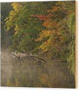 Fog Rolls Into Fall Wood Print