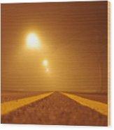 Fog Shrouded Road Wood Print