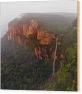 Fog Sunrise And Waterfalls Wood Print