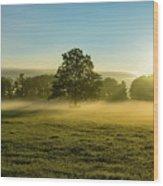 Foggy Autumn Morning On The Farm Wood Print