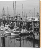Foggy Boats Wood Print