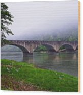 Foggy Bridge Wood Print