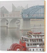 Foggy Chattanooga Wood Print by Tom and Pat Cory