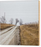 Foggy Country Road Wood Print