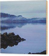 Foggy Dawn Blue And Pink Wood Print