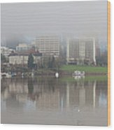 Foggy Day Along Portland Waterfront Panorama Wood Print