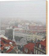 Foggy Day At Lisbon. Portugal Wood Print