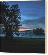 Foggy Evening In Vermont - Landscape Wood Print