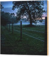 Foggy Evening In Vermont - Portrait Wood Print