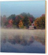 Foggy Fall Reflections Wood Print