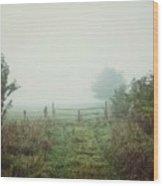 Foggy Field Wood Print